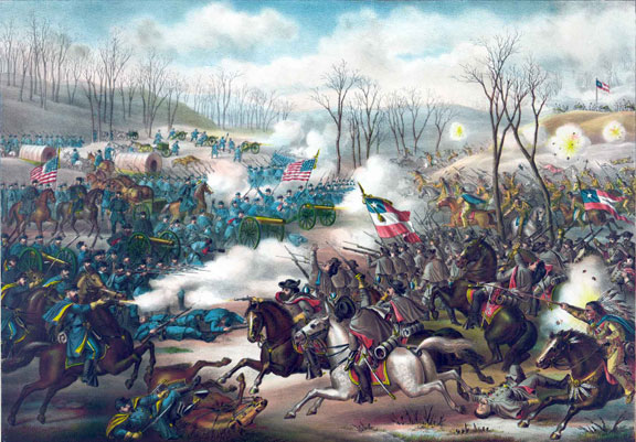 Painting of the battle pea ridge published by kurz and allison in 1889