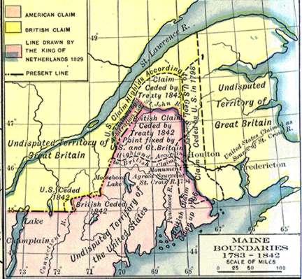 RushBagot Agreement - Us 1818 border map