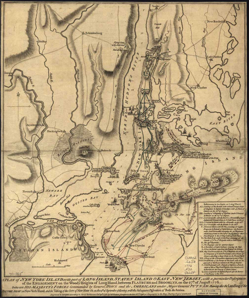 Revolutionary War Map Of New York.Battle Of New York