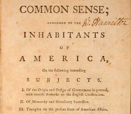 Common Sense by Thomas Paine front page.