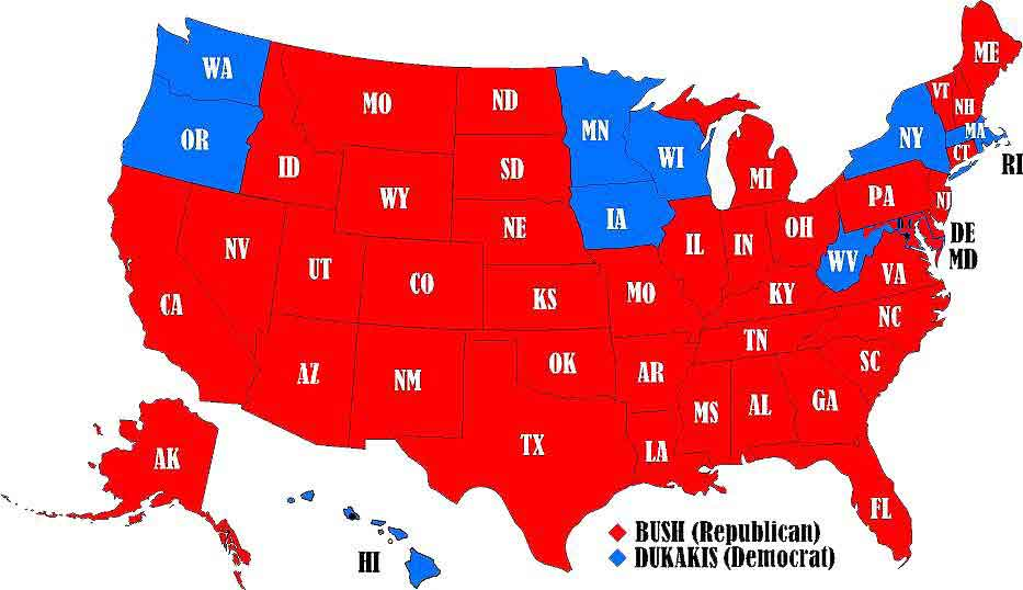 Election State Results - 1988 us electoral map