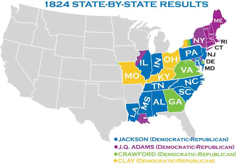 Presidential Elections - Us map 1824