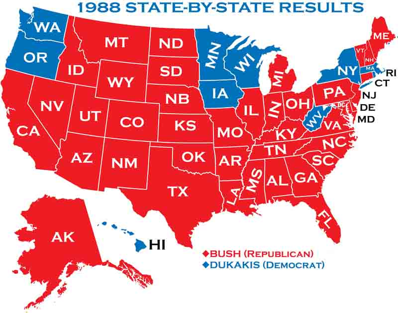 Presidential Elections - 1988 us electoral map