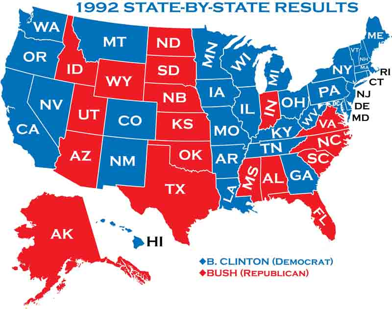 Presidential Elections - 1992 election us map